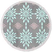 Coral And Turquoise Gray Round Beach Towel
