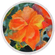 Round Beach Towel featuring the painting Coral Begonias by Kathy Braud