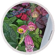 Coral Bells In The Garden Round Beach Towel