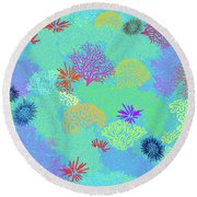 Coral Garden Bright Aqua Multi Round Beach Towel