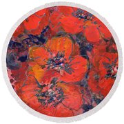 Coral Poppies Round Beach Towel