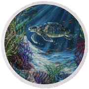 Coral Reef Turtle Round Beach Towel