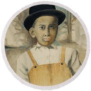 Corduroy Overalls,1942 -- Retro Portrait Of African-american Child Round Beach Towel