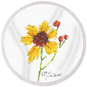 Coreopsis By Kathleen Mcelwaine Round Beach Towel