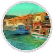 Round Beach Towel featuring the photograph Corfu 14 - Panorama Of Lakka On Paxos by Leigh Kemp