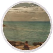 Round Beach Towel featuring the photograph Corfu 15  - My Lady On The Rocks by Leigh Kemp