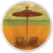 Round Beach Towel featuring the photograph Corfu 18 - Mirage by Leigh Kemp