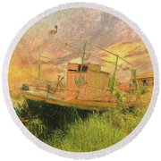 Round Beach Towel featuring the photograph Corfu 25 High And Dry by Leigh Kemp