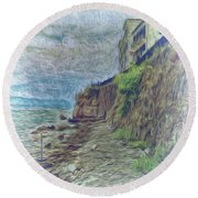 Round Beach Towel featuring the photograph Corfu 33 - Corfu Rocks by Leigh Kemp