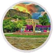 Round Beach Towel featuring the photograph Corfu 32 - Near The Fortress by Leigh Kemp