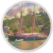 Round Beach Towel featuring the photograph Corfu 35 Tall Ship In Paxos by Leigh Kemp