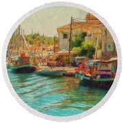 Round Beach Towel featuring the photograph Corfu 39 - Boats Paxos by Leigh Kemp