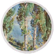 Corfu Cypresses Round Beach Towel