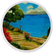 Corfu-greece Round Beach Towel