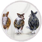 Corgi Butt Lineup With Chihuahua Round Beach Towel by Patricia Lintner