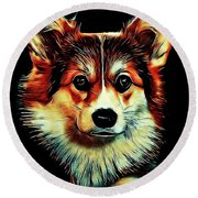 Corgi Portrait Round Beach Towel