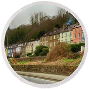Cork Row Houses Round Beach Towel
