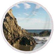 Cormorants At El Madador Beach Round Beach Towel