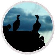 Cormorants In Silhouette Round Beach Towel