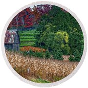 Corn And Ginseng On Poverty Hill Round Beach Towel