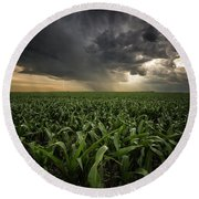 Round Beach Towel featuring the photograph Corn And Lightning by Aaron J Groen