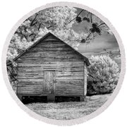 Corn Barn And Pine Cones Round Beach Towel