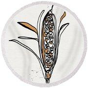 corn- contemporary art by Linda Woods Round Beach Towel