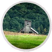 Round Beach Towel featuring the photograph Corn Field Silo by Marvin Spates