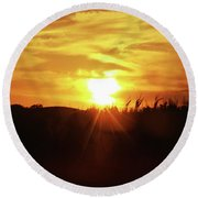 Corn Field Sunset Round Beach Towel