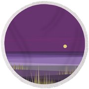 Corn Field Twilight Purple Round Beach Towel by Val Arie