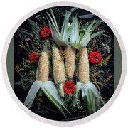 Corn Harvest Round Beach Towel