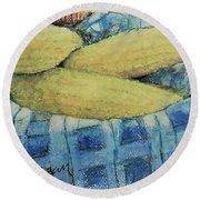 Corn In A Basket Round Beach Towel