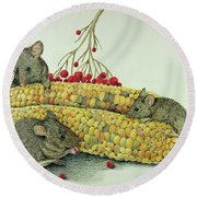 Round Beach Towel featuring the drawing Corn Meal by Terri Mills