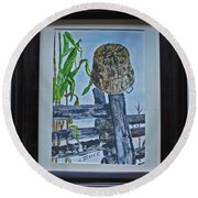 Round Beach Towel featuring the painting Corn Picking Time by Jack G Brauer