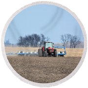 Corn Planting Round Beach Towel by Bonfire Photography