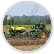 Corn Planting Fremont County Iowa Round Beach Towel