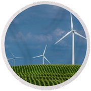 Corn Rows And Windmills Round Beach Towel