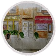 Cornelia Street In Greenwich Village Round Beach Towel