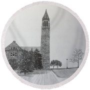 Cornell Clock Tower  Round Beach Towel
