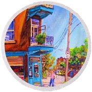 Round Beach Towel featuring the painting Corner Deli Lunch Counter by Carole Spandau