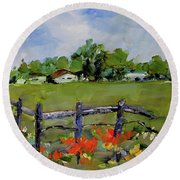 Corner Lot, Texas Style  Round Beach Towel