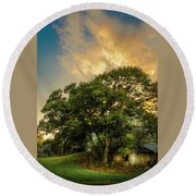 Round Beach Towel featuring the photograph Corner Oak by Marvin Spates
