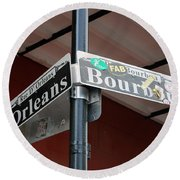 Corner Of Bourbon Street And Orleans Sign French Quarter New Orleans Round Beach Towel by Shawn O'Brien