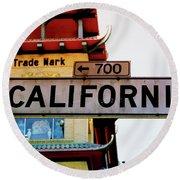 Corner Of California- Art By Linda Woods Round Beach Towel