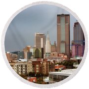 Corner Of Downtown Dallas Round Beach Towel