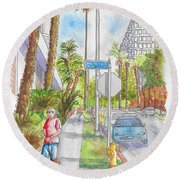 Corner Of Hawthorn And Formosa In Hollywood, California Round Beach Towel