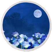 Cornflowers In The Moonlight Round Beach Towel