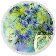 Cornflowers Symphony Round Beach Towel