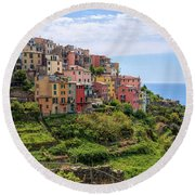 Corniglia Cinque Terre Italy Round Beach Towel