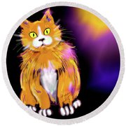 Round Beach Towel featuring the painting Cornmuffin Dizzycat by DC Langer
